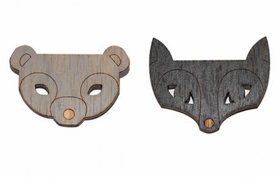 Order and Progress Beci Orpin Bear and Fox wood brooch