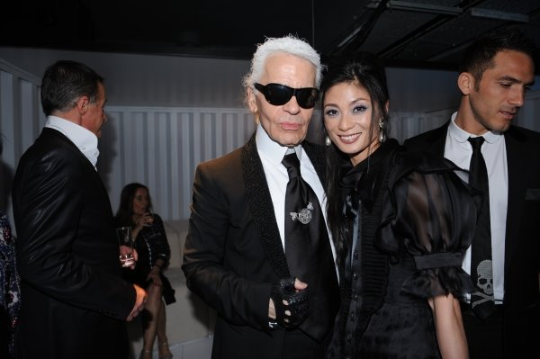 Karl Lagerfeld and Sue Jin Kang at the Chanel Mobile Art Gala Party