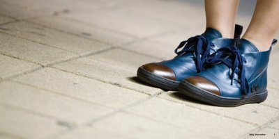 Gram shoes 381g blue leather