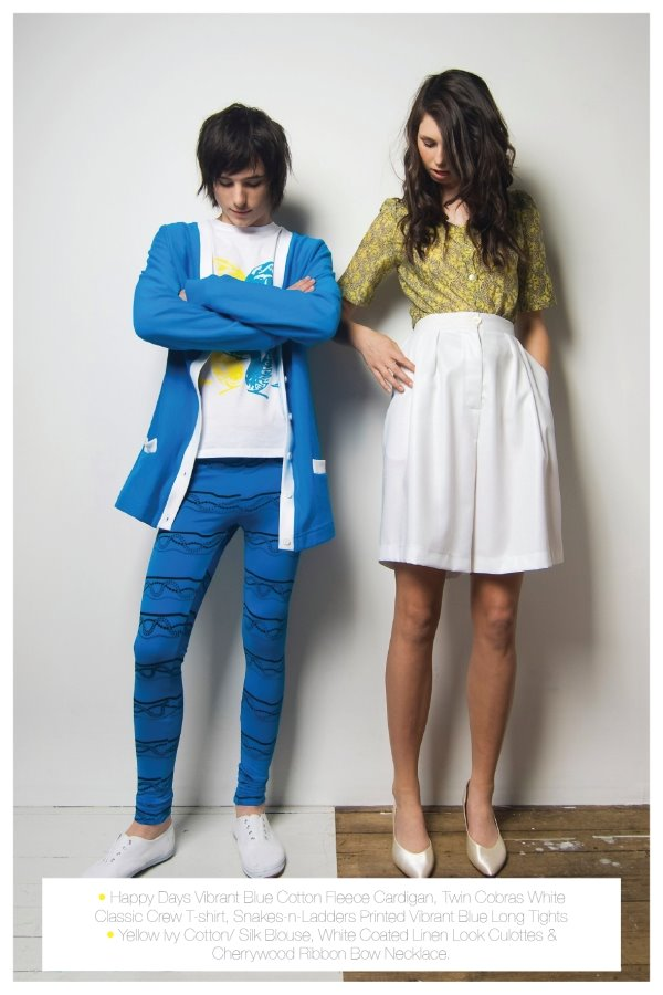 He - Happy Days Vibrant Blue Cotton Reece Cardigan, Twin Cobras White Classic Crew t-shirt, Snakes-n-Ladders printed Vibrant Blue Long Tights She - Yellow ivy Cotton Silk Blouse, White Coated Linen Look Culottes and Cherrywood Ribbon Bow Necklace