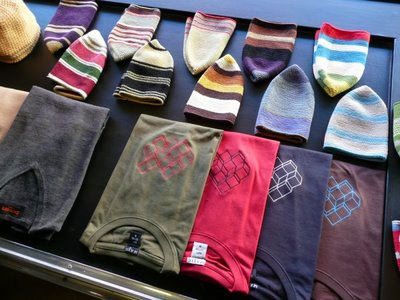 Nick Brown front window Jan Cork Beanies, embroidered t's