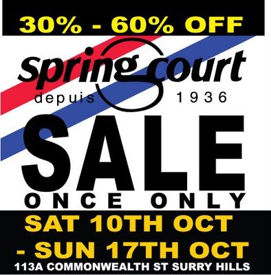 Spring Court Australia sale October 2009